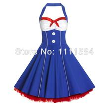 free shipping  50s Vintage Slit Neckline Boat Stain One-Piece Rockabilly Dress with Belt American vintage dresses(China (Mainland))