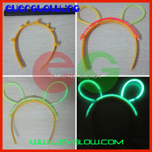 high quality 1000pcs/lot Assorted Color Glow hair clip glow in dark hairpin glow bunny ear glow stick for Party dancing toys(China (Mainland))