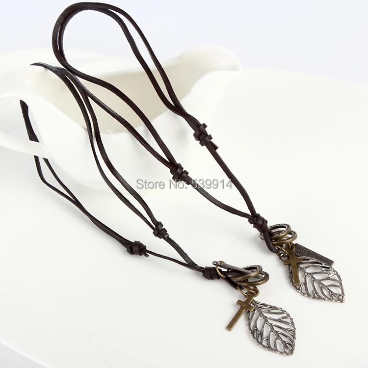 Fashion jewelry necklace genuine cow leather men necklace,punk retro cross leaf pendants necklace 2pcs/lot(China (Mainland))