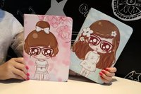 Lovely girl cartoon image Multiple patterns Leather Flip Case for Apple iPad air1 2 PRO 9.7