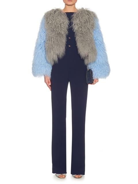 FC042 Мода сочетать цвета Монгольских овец меха пальто женщин