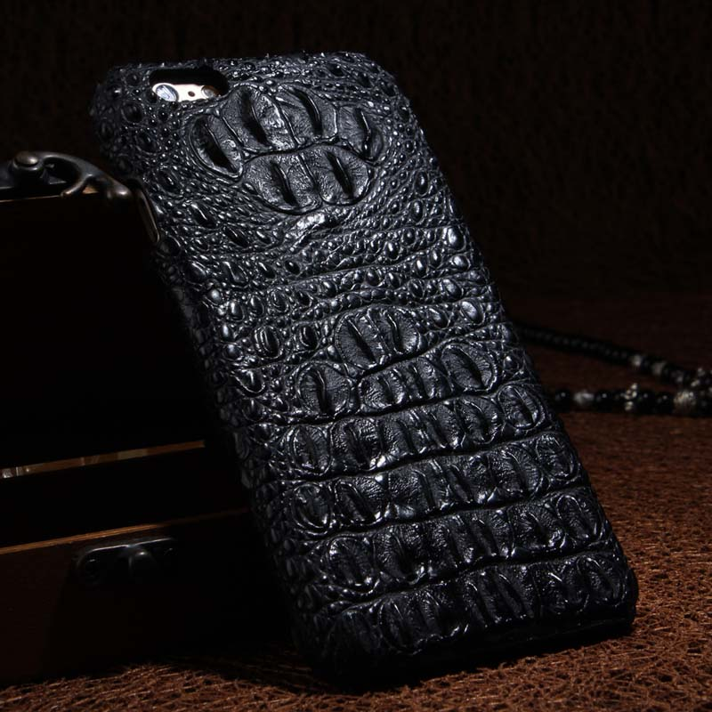 Luxury Genuine Leather Phone Case Accessories Crocodile Head Pattern Leather Case Cover For iPhone 6 6S / 6s Plus Case JS0167(China (Mainland))