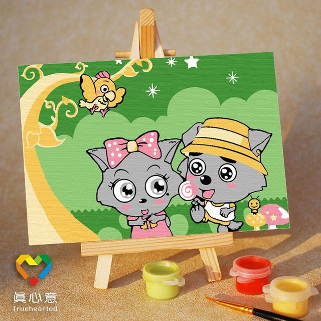 Colored drawing diy digital oil painting cartoon child doodle painting love 10 15 belt easel