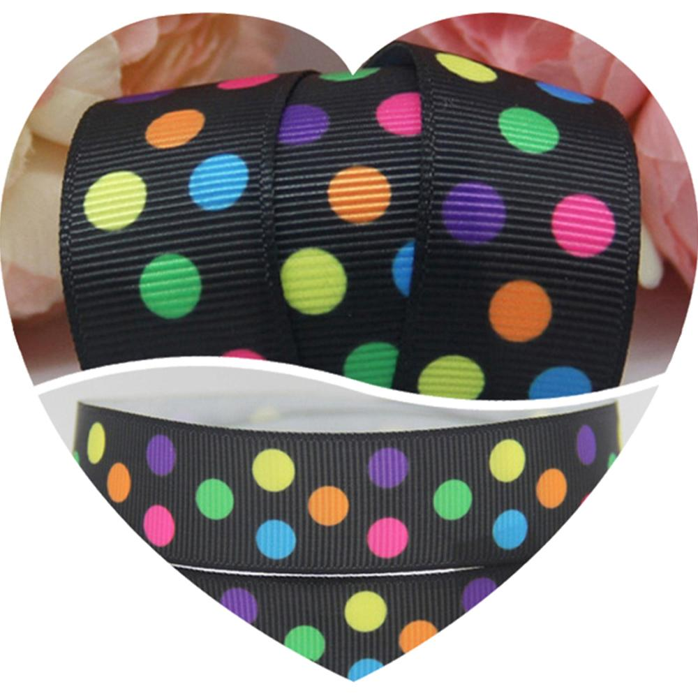 "7/8"" 22MM Oblique Colorful 3 Polka Dots Printed Grosgrain Ribbons Tape Sewing Gift Supplier Handmade Apparel 100Yards A1-22-447(China (Mainland))"