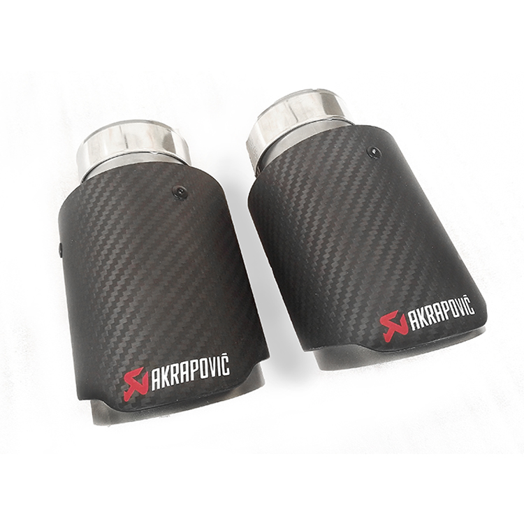 2 PCS Auto Muffler Carbon Fiber Exhaust End Pipes, Single Tips Akrapovic 2.3'' in, 4'' out, free shipping(China (Mainland))