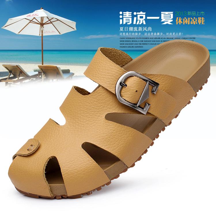 Size 39-44 Leather Korean Wedge Ankle Strap Men Summer Low Heel Sandals Male White Cork Wedge Heel Slippers Slip On Flats Men(China (Mainland))