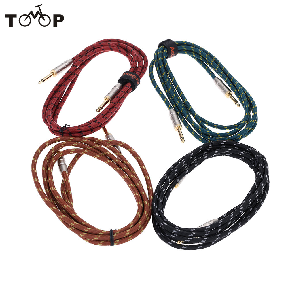 3m/10FT Braided Tweed Guitar Bass Cable Patch Lead 6.35mm Mono Jack Plug Guitar Cable Cord for Musical Instrument(China (Mainland))