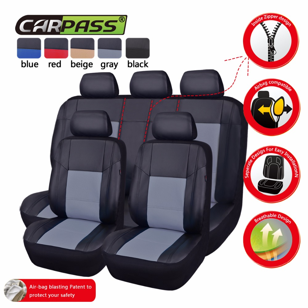 Car-pass Pu Leather Black/Beige/Red/Blue/Gray Car Seat Covers Front and Rear Seat Covers Full Sets Car Interior For hyundai(China (Mainland))