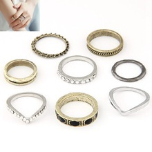 Fashion Vintage Punk Summer Style 8pcs lot Metal Ring Hollow Out Band Midi Mid Finger Knuckle