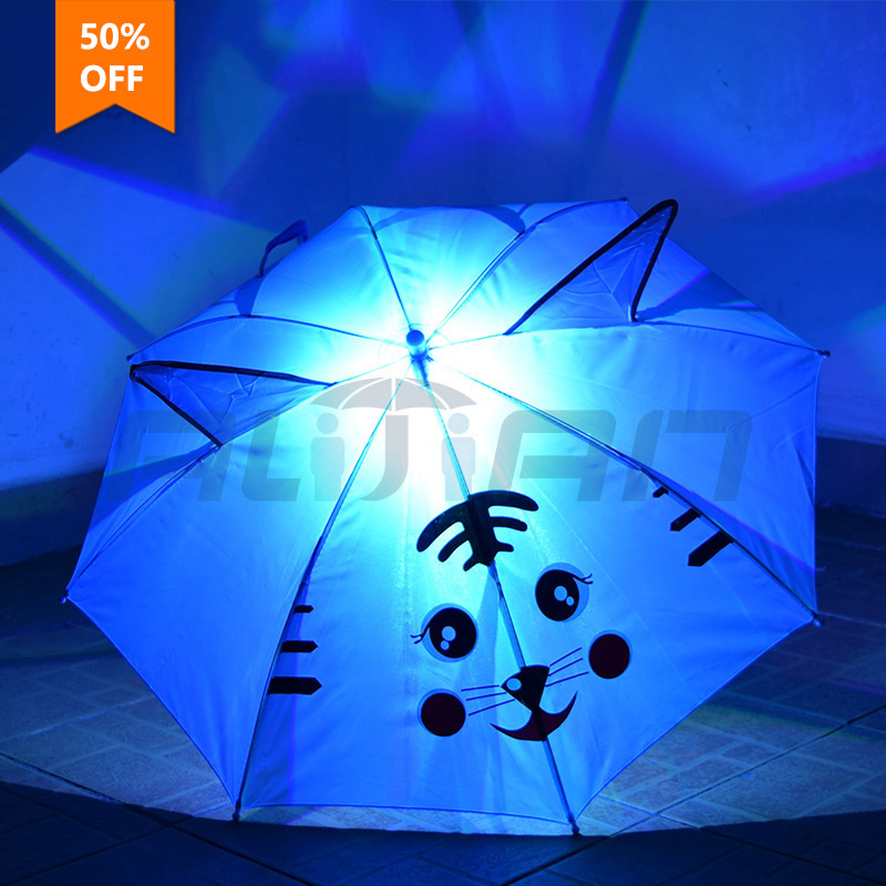 Hot Sale 5 Bone Wavy Edges New Cartoon LED Luminous Warning Umbrella Children Umbrella Kid's Children's Student's Cute Umbrella(China (Mainland))