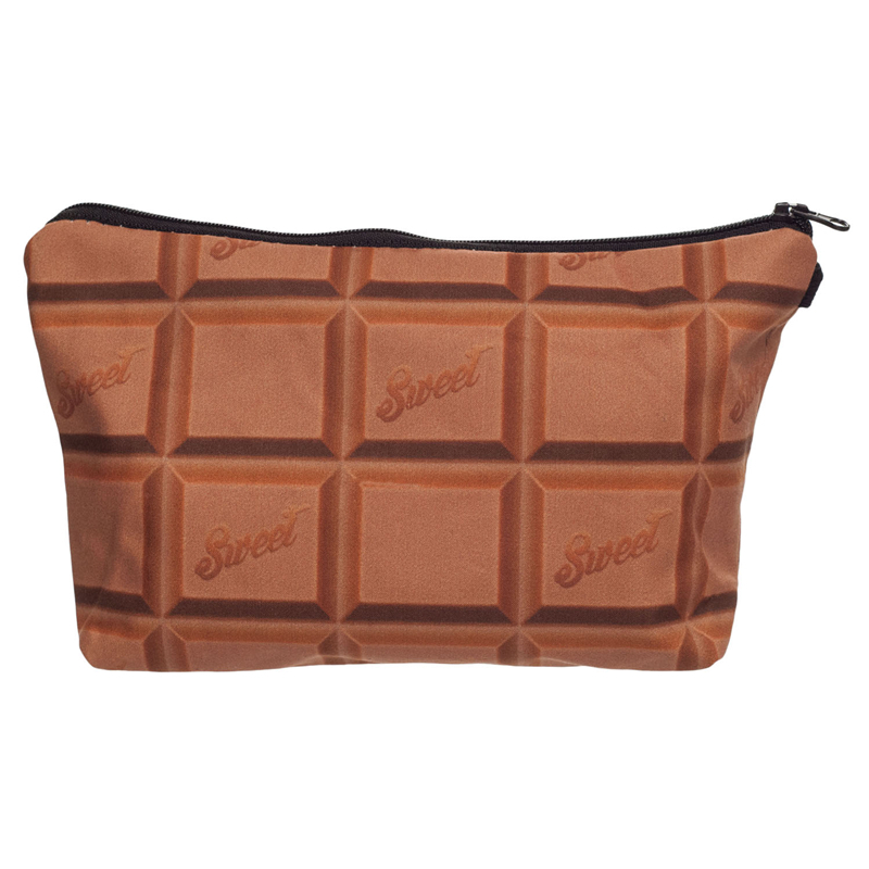 3D Printing Chocolate Candy Women Neceser Portable Make Up Bag Case Organizer Bolsa feminina Travel Toiletry Bag Cosmetic Bag(China (Mainland))