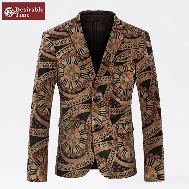 Мужские цветочные пиджаки и размер костюм куртки M-4XL стиль дизайнера однобортный ...