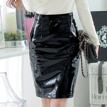 Original 2016 Brand Saias Autumn Winter High Waist Plus Size Slim Elegant Black Light Leather PU Pencil Skirts Women Wholesale