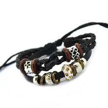 Vintage Retro Handmade Colorful Bohemia beads Wooden Adjustable Leather Bracelets For Women Men Unisex Jewelry Black and Brown