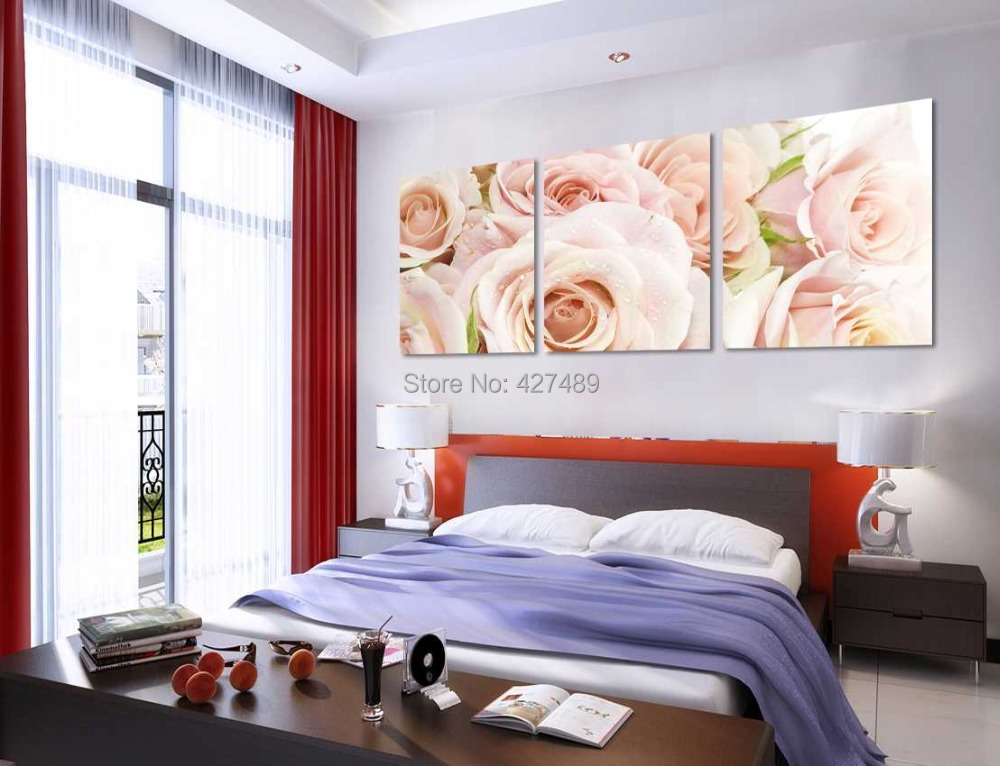 3 Panel modern wall art home decoration frameless oil painting canvas prints pictures P91 abstract pink rose flower paintings - Ann Taylor's Store store