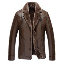 2016 Luxury Men Genuine Sheepskin Leather Coats Wool Fur Lining Winter Mens Jacket  Slim 8351(China (Mainland))