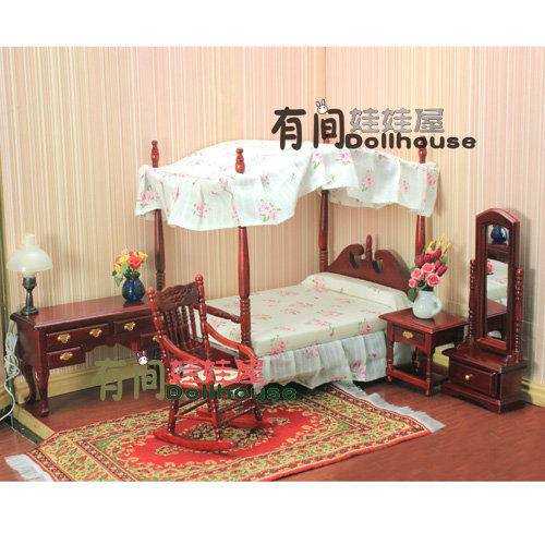 1 12 Euro Classic Bedroom Furniture Miniature 5in1 Bed Rocking Chair Full Length Mirror Table