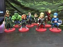 Iron Man Marvel Avengers 8 unids/set Hawkeyes negro viuda Hulk Thor 8 CM PVC figura de acción juguetes muñeca decoración regalo de los cabritos