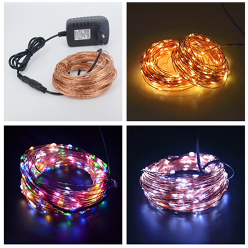 Waterproof DC 24V 30m 300 LED Outdoor Christmas Fairy Lights LED Copper Wire String Lights Starry Light+Power Adapter((China (Mainland))
