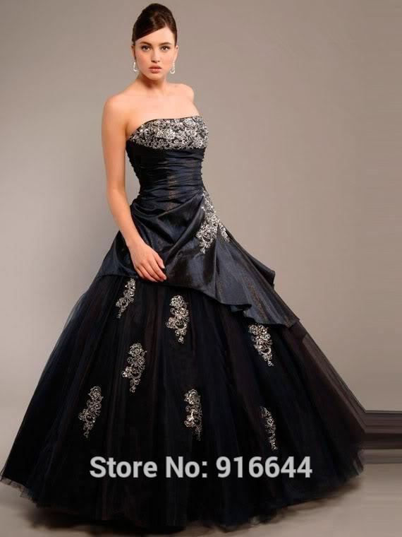 Vestidos De 15 Anos 2015 New Custom Made Taffeta Tulle Black Applique ...