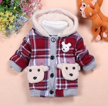Free shipping (3pcs/lot)100% cotton children's winter checked outerwear,fashionable bear artwork with two bear pocket  item#5513