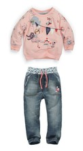 Kids autumn fashion clothes for girls Cartoon long-sleeved sweater + jeans suit grils student clothes NEXT(China (Mainland))