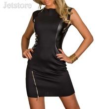 Plus size XL XXL New Rock Black Dress Fashion Faux Leather Dance Club Wear Patchwork Women Zipper Sexy Dresses clubwear 33 6910(China (Mainland))