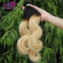 "New item! malaysian ombre hair 1b/platinum blonde human hair body wave weave cheap 613 ombre hair extensions mixed 10""-30"""