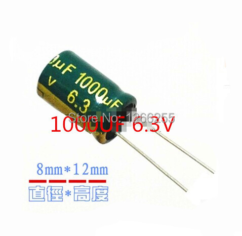 Free Shipping DIP Electrolytic capacitor 1000UF 6.3V 8*12mm 100pcs/lot NEW in stock(China (Mainland))