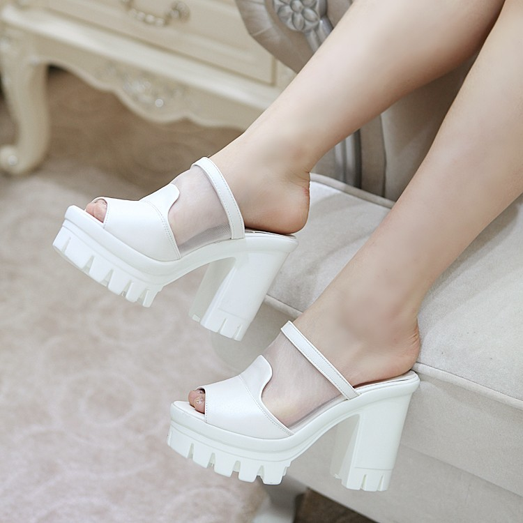 Gauze Stitching PU Thick Crust Platform Chunky High Heels Slippers Women Open Toe Pink Blue White Fashion Casual Female Sandals<br><br>Aliexpress