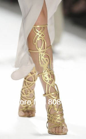 2013 Flower Cut Summer Sandals Boot Women Leather Shoes Christmas Onsale Fashion Lady long Gold High heels - Super Mary store