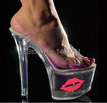 2014 Sexy Crystal Shoes 17cm Ultra High Heels Exotic Dancer Red Lips Platform Slippers Night Club 7 Inch High Heels Fetish Pvc(China (Mainland))