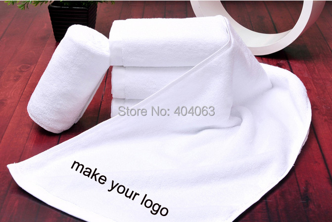 mini wholesale 50pcs!50%-60% discount shipping cost,custom towel logo hotel bath towl customized your logo 120gms 35*75cm(China (Mainland))