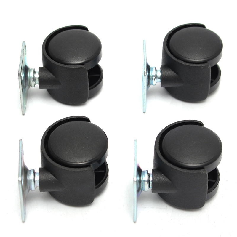 Hot Sale 4Pcs/Set 1 Inch Swivel Plate Caster Polyurethane Wheel Chair Table Replacement Black Durable Resistant To Abrasion(China (Mainland))