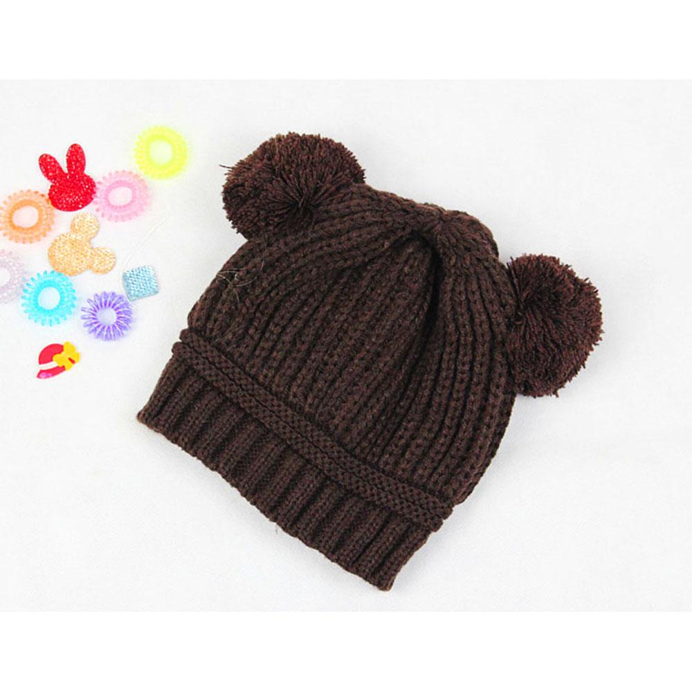 2015 Wholesale Korean Baby Love Dual Ball Wool knit sweater Cap Winter Hat - Coffee(China (Mainland))