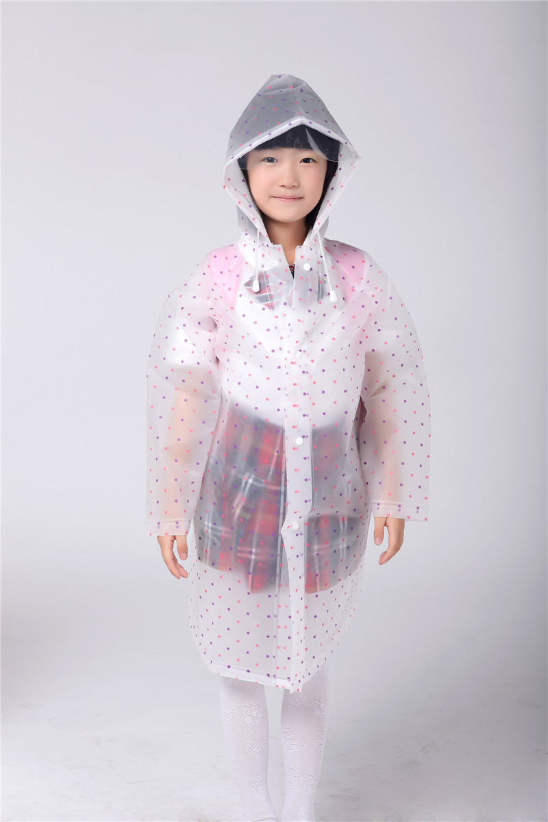 children raincoat boy and girl poncho student raincoat EVA rain gear school bag position connection wavepoint pattern(China (Mainland))