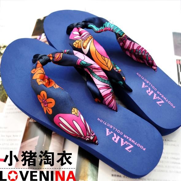 Fashion fancy flip flops sandals blue circled 2(China (Mainland))