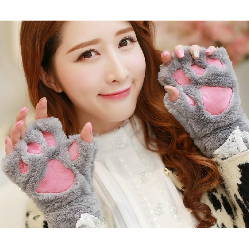Mooie pluizige beer kat pluche poot klauw handschoenen nieuwigheid