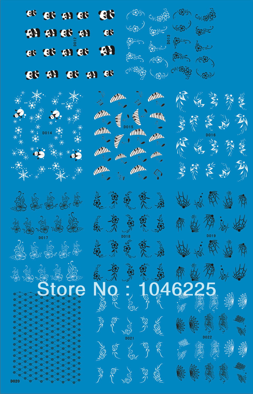 Promotion 2014 DIY Fashion Watermark Nail decals Hot Sale Black/ White Flowers/Tulip/Panda Nail Art Sticker Free Shipping(China (Mainland))