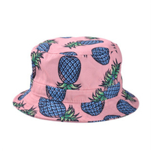 Super Cute!Pineapple Printed Bucket Hats For Women Girls Men 2015 New Fashion Lovely Summer Casual Cotton Fishing Hats(China (Mainland))