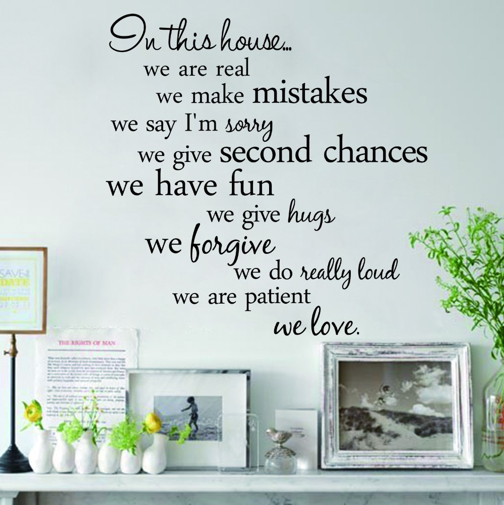 In this house we are real character wall stickers appointment Decals wall removable vinyl wall sticker home decor (China (Mainland))