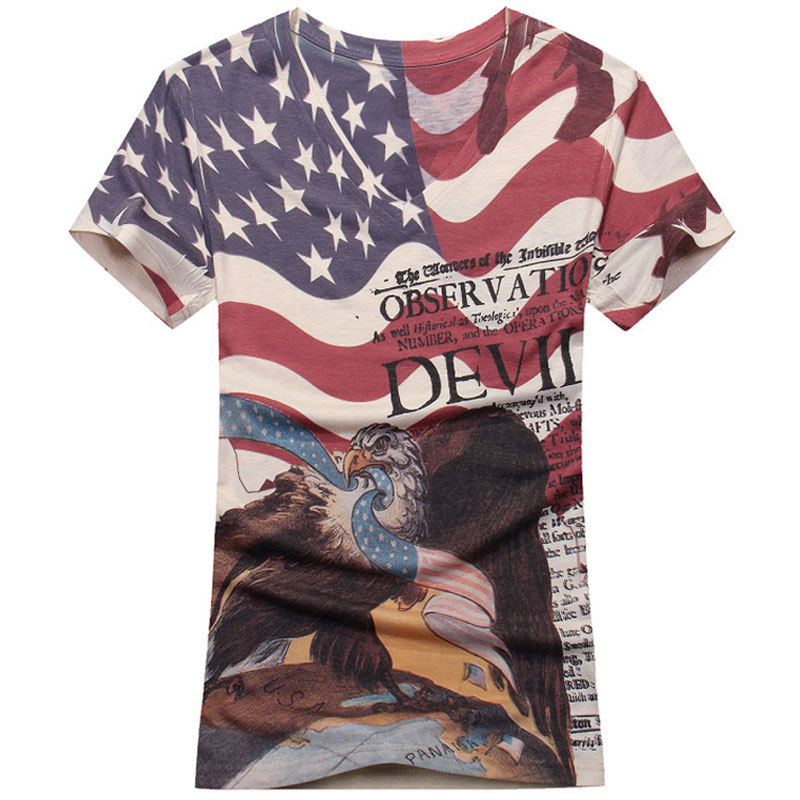 New 3D T Shirts 2016 Summer Fashion Men Slim Fit V-neck American Flag Eagle Printed T Shirt Causual Brand Cotton T Shirt Men(China (Mainland))