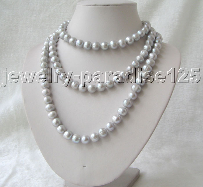 Beautiful 50 11-12mm natural gray round freshwater pearl necklace - GP clasp^^^@^Noble style Natural Fine jewe FREE SHIPPING<br><br>Aliexpress