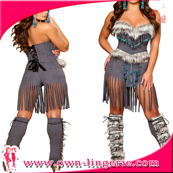 faux suede corset top and faux fur Cosplay Costume Native American style costume includes a grey Deluxe Indian Hottie Costume(China (Mainland))
