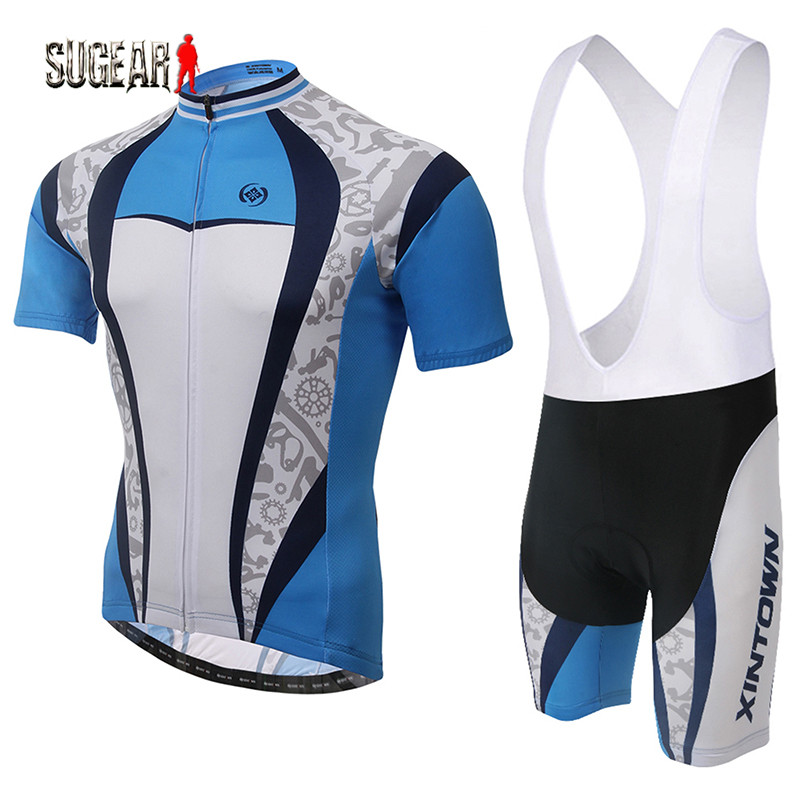 Summer Cool Blue and White Color Short Sleeve Cycling Top Shirt and Bib Pant Sets Perfect Model Close-fitting Riding Clothing<br><br>Aliexpress