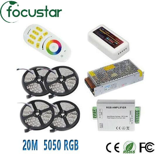 20M 5050 RGB LED Strip Light 60Leds/M Flexible Led Ribbon Tape + Wireless Touch Remote Controller+24A Amplifier+20 A Power(China (Mainland))