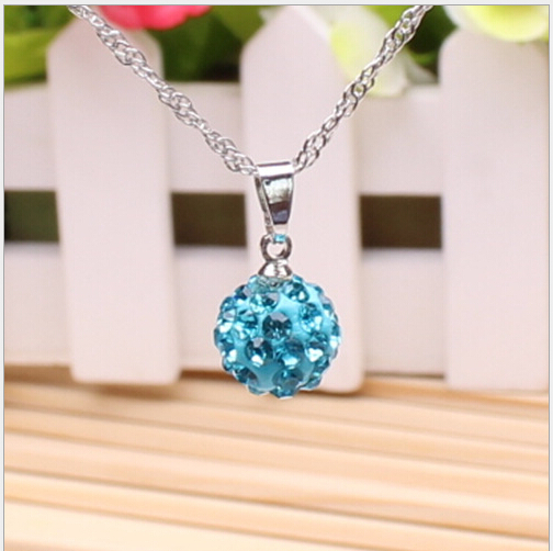 Crystal Jewelry Pendant Necklaces, White New crystal Necklaces Micro Pave Disco Ball Beads necklace(China (Mainland))