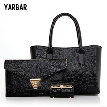 YARBAR Brand New Crocodile Handbags 3 Sets Women Shoulder Messenger Bags Casual PU Leather Tote Evening - City Store store