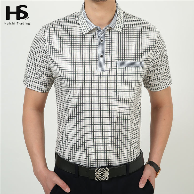 HS Summer Short Sleeve Casual T Shirt Men 100% Cotton Plaid T-Shirts Pocket Brand Clothing Plus Size Factory Wholesale 2227