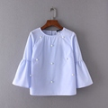 Women elegant pearls beading flare sleeve shirt O neck blouse three quarter sleeve summer casual tops